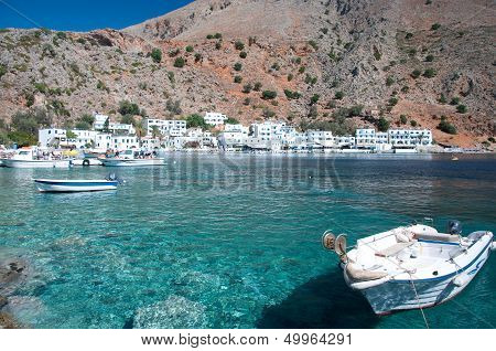 Small fishing village, Loutro, on the southern coast of Crete stock photo