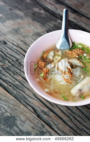 kuay jap (paste of rice flour  boiled Chinese pasta) stock photo
