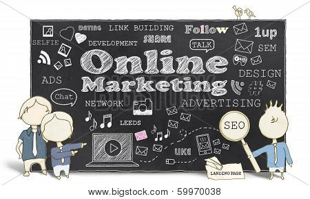 Online Marketing With Business Men on White Background stock photo