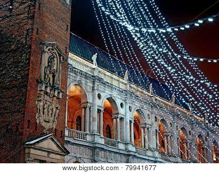 piazza dei signori with the Palladian basilica during a cold winter night stock photo