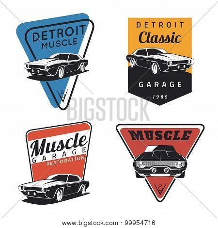 Classic muscle car emblems